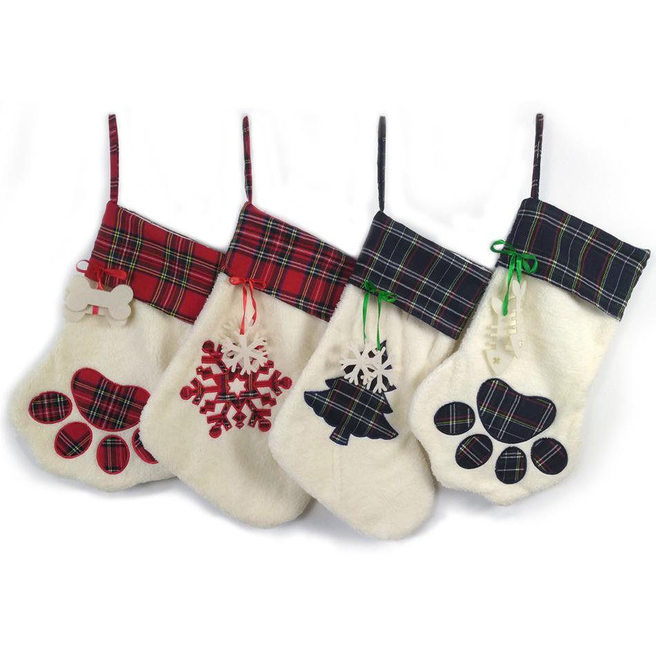 Dog Paw Christmas Stocks Cute Tree Christmas Decorations Stocking Candy Gift Bags Decorations Stocking socks bags LJJA3446-2