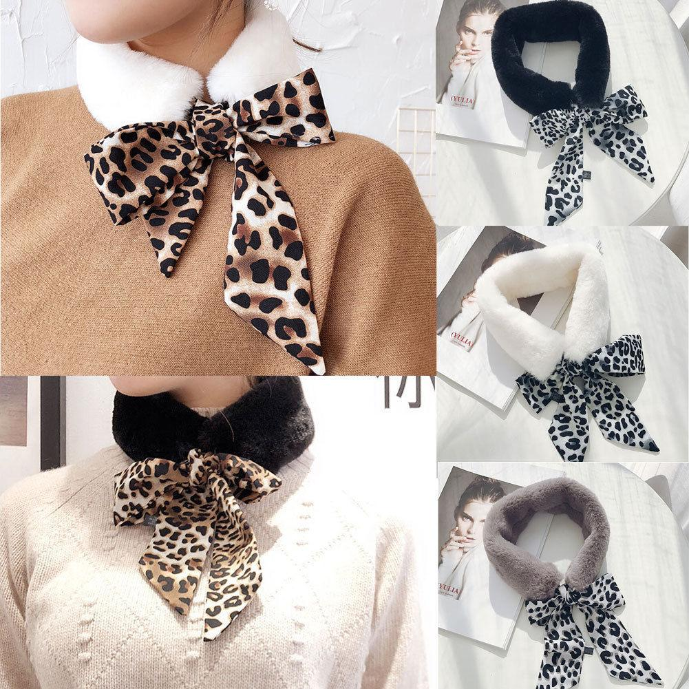 Winter Faux Rabbit Fur Collar Ribbon Lace Scarf Shawl Collar Women Wrap Scarves
