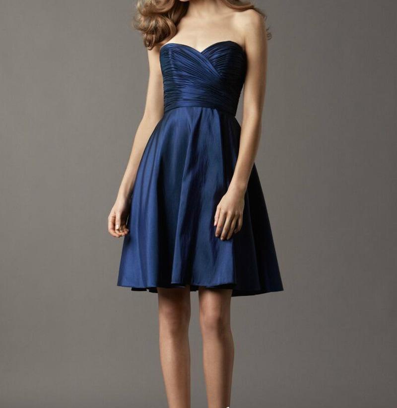 Summer Style Navy Blue Bridesmaid Dress Short Sweetheart Sleeveless Backless Short Bridesmaid Gowns Red/Burgundy