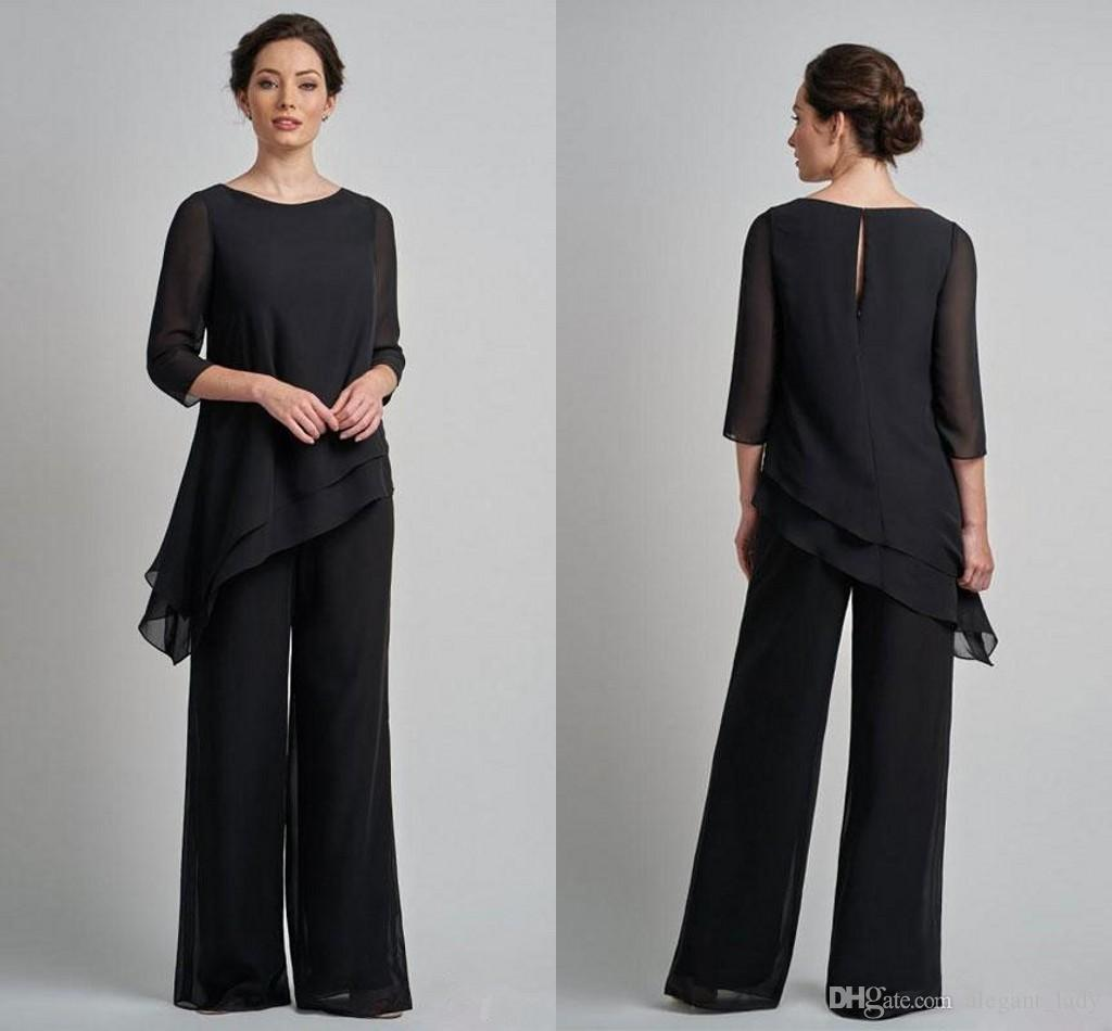 Cheap Black Long Sleeves Mother Of The Bride Pant Suits Jewel Neck Tiered Wedding Guest Dress Plus Size Chiffon Mothers Groom Dresses