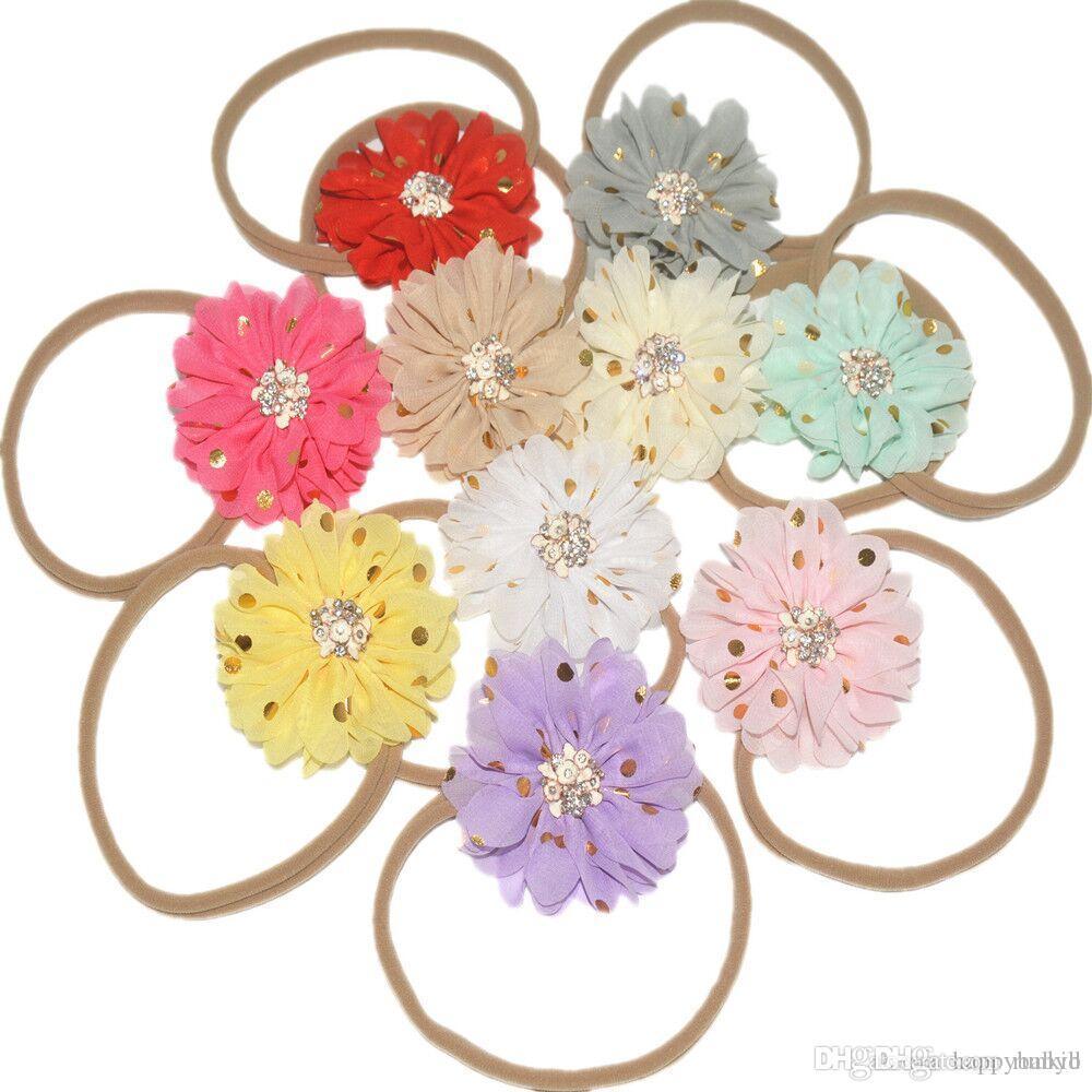 32 cores 8cm Chiffon Flores Com Nylon Rope Headband Crianças Acessórios de cabelo do bebê Headbands Flor Hairband