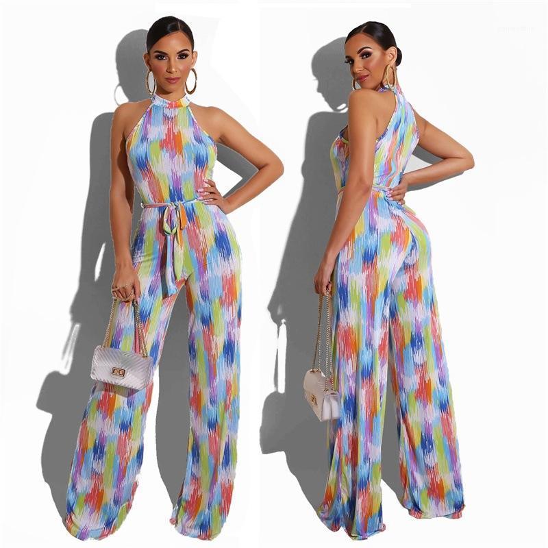 Tulum Romper Kolsuz Şık tulum Yaz Casual Clubwear Geniş Bacak Pantolon tulum Kadınlar İnce Giyim Suits Kadınlar Colorfull Çizgili