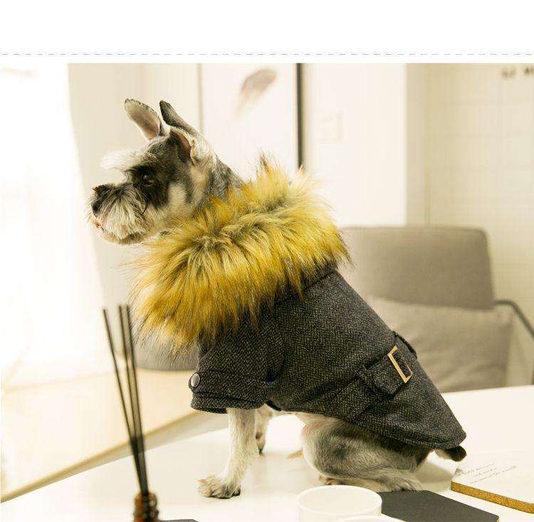 Venta caliente del perro casero chaquetas de invierno gruesa de peluche del perrito Schnauzer ropa de lana de algodón acolchado ropa exterior suéter pequeño perro ropa S M L XL XXL