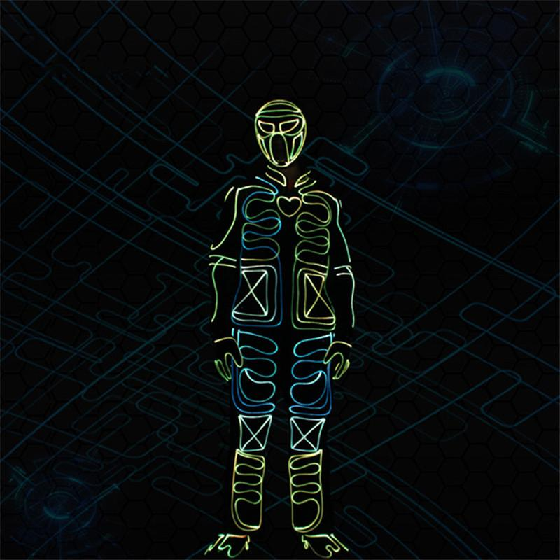 TC234 Party wear led lighted costumes prorammable full color RGB robot men suit dj mask luminous colorful outfit glowing clothe disco party