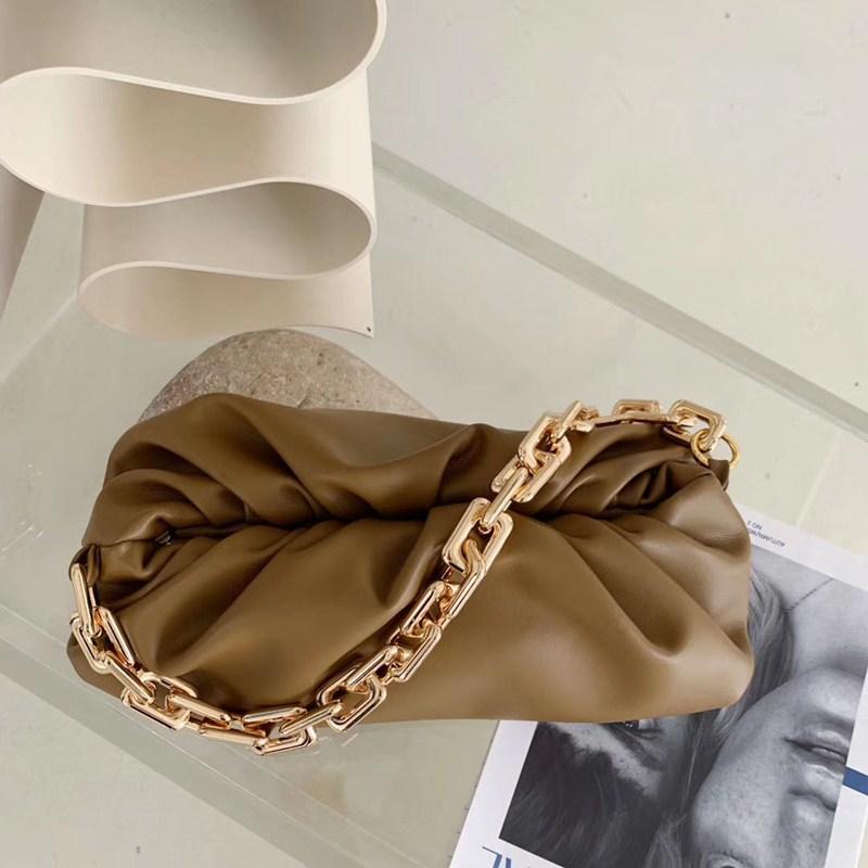 Nova chegada! Famoso Designer Marca macio Couro Ladies Bag Bolsa Com Big metal Cadeia Messenger Bag Mão por Mulheres