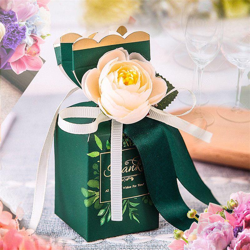 Düğün Hediye Kutusu Çiçek şekli Şeker Kutuları Çikolata Kutusu Bebek Doğum Günü Partisi Düğün Dekorasyon Bomboniera Hediye Kutusu