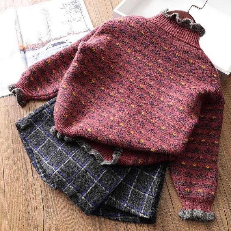 Mädchen Strickjacke 2019 neue Art-Herbst und Winter im koreanischen Stil Kinder gebürstet und Thick Knit Versatile Warm Basis Pullover