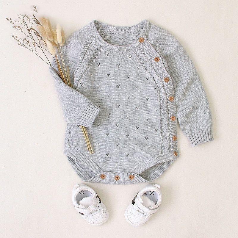 Baby Rompers Мода Младенец младенец комбинезона Мальчики Девочки Одежда 2020 Осень Зима Knit Новорожденный Chothes малышей Одежда 3-24M