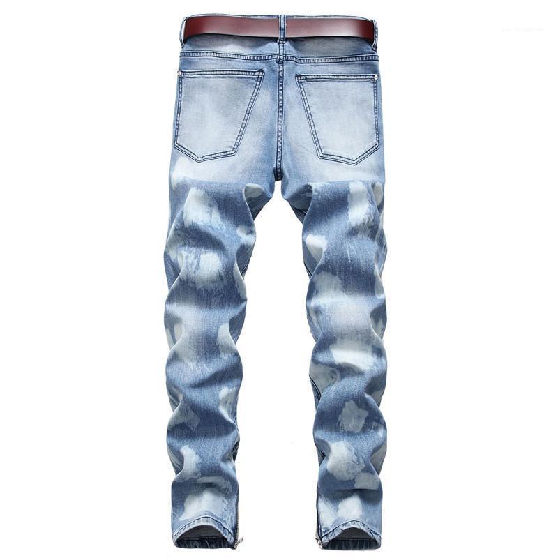 Calças Moda Primavera Plus Size Masculino jeans rasgado dos homens do desenhista calça jeans reta estiramento Magro Mens longas