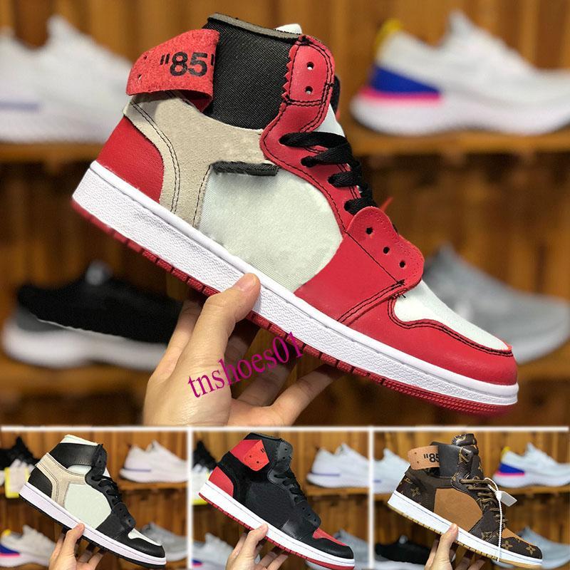 OFF WHITE X Nike Air Jordan 1  baloncesto del Mens UNC Nueva 1s Rojo Negro 1 Blanco Chicago Hombres Deportes diseñador de zapatos zapatillas de deporte fuera Chaussures
