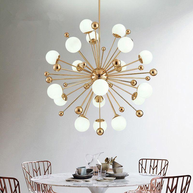 İskandinav LED yemek kolye postmodern yaratıcı kişilik karahindiba cam bilye Amerikan basit yatak odası kolye lights110v `` 260V lambaları