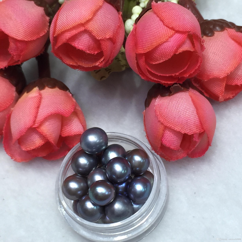 20 granos redondos de la perla con alta calidad perlas 6-7mm Negro gris natural de alta calidad para niños Diversión