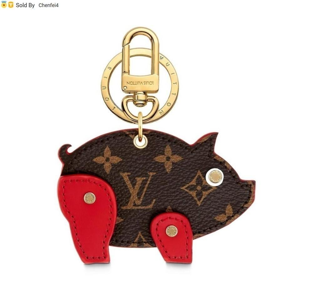 chenfei4 RJ6C M64181 PIG BAG AND KEYCHAIN Rouge key Holders and More Leather Bracelets Chromatic Bag Charm and Key Holder Scarves Belts