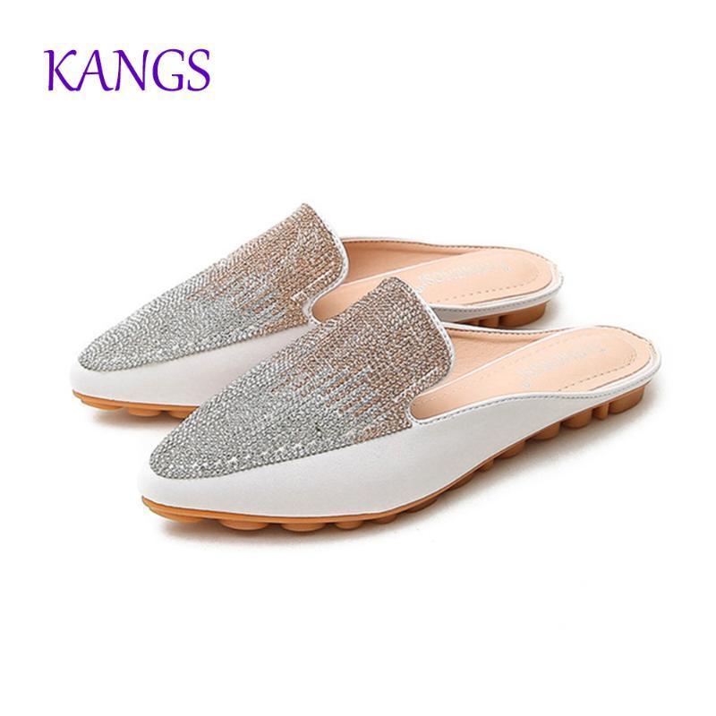 2020 ilkbahar yaz kadın ayakkabıları KoreanPU Sivri kristal terlik Baotou düz topuk setleri yarı terlik A077
