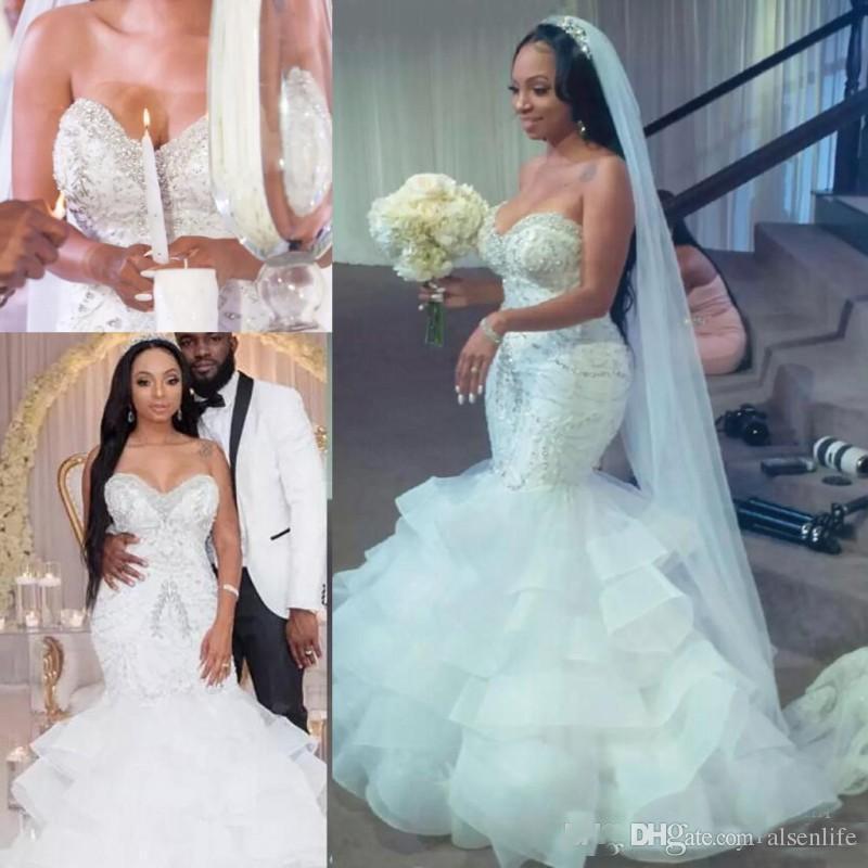 Sirena fuera del hombro Vestidos de novia perlas con lentejuelas vestido de fiesta de boda de la falda de organza Count tren Shinning de la cremallera de los vestidos de novia