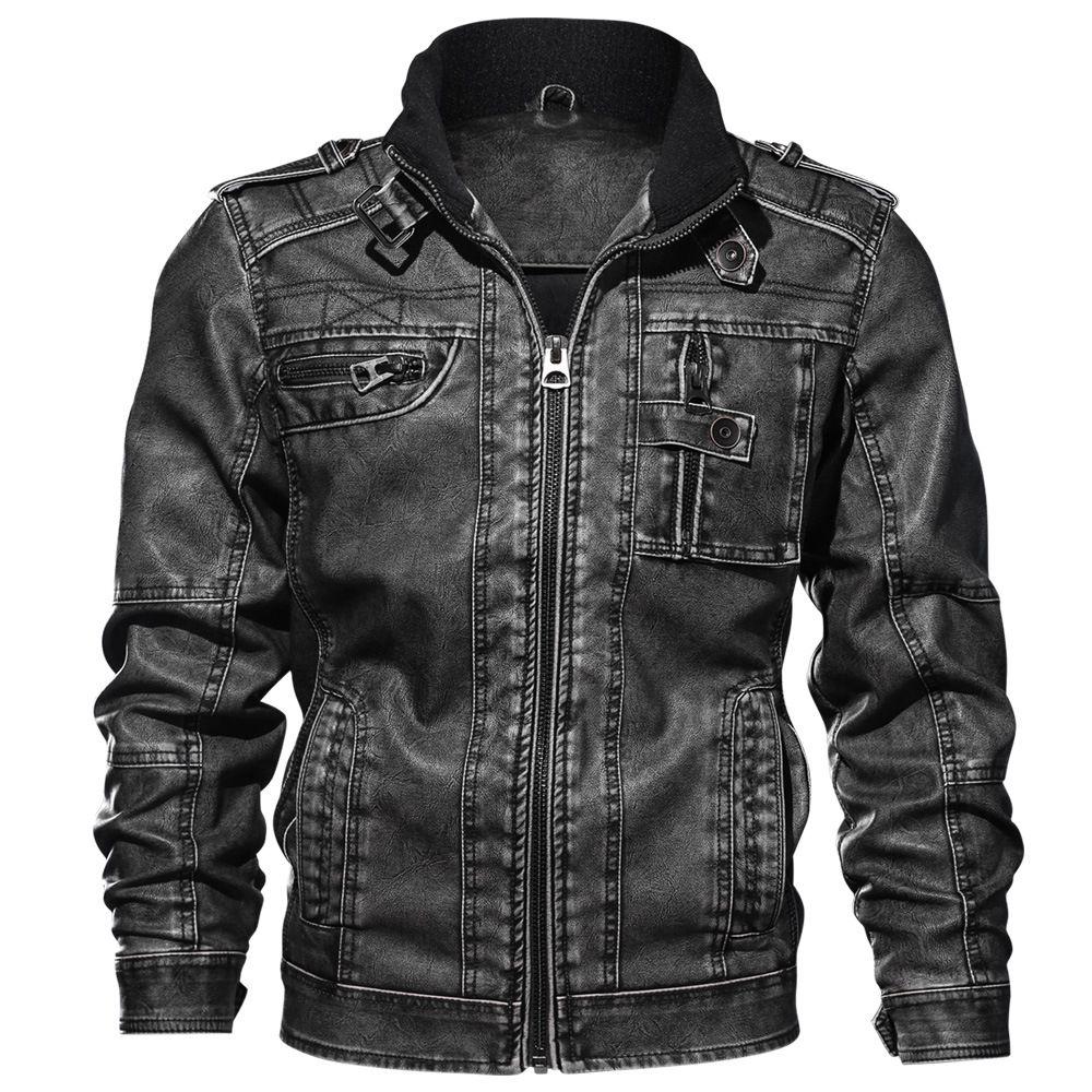 Кожаная куртка джинсовый цвет новая зимняя кожаная куртка Мужские пальто мех внутри мужчины Мотоциклетная куртка высокое качество толстые теплые пиджаки из искусственной кожи