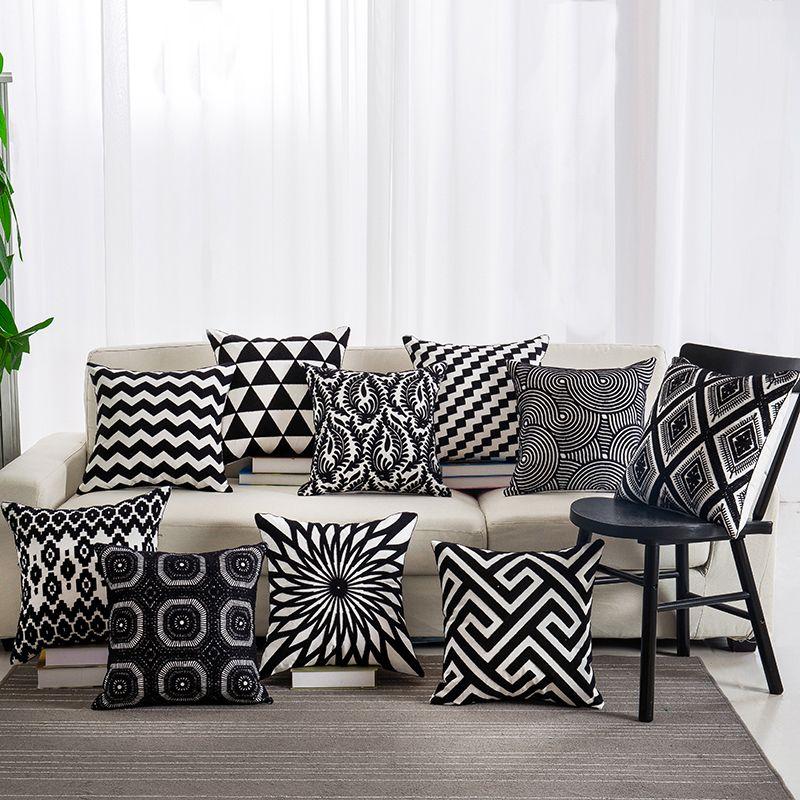 Black Color Embroidered Cotton Pillowcase Decorative Seat Pillow Cover Throw Pillow Case 45*45cm
