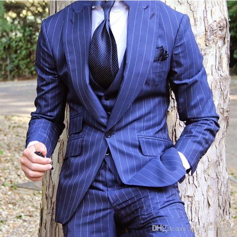 2019 Blue slim fit Stripe Men Suits Elegant Smart Casual Street wedding Suit for mens Business Tuxedo Blazer Jacket Vest Pants 3 piece