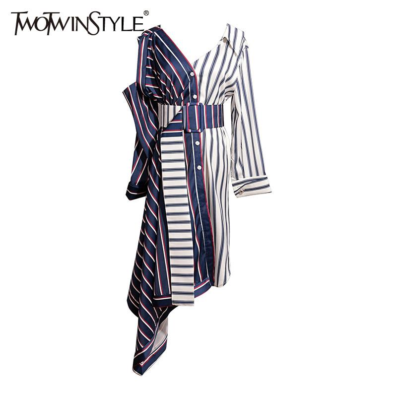 Twotwinstyle Asymmetrical Shirt Dress Women Off Shoulder Striped Sexy Dresses Female With Wide Belt Patchwork Clothing Autumn J190719