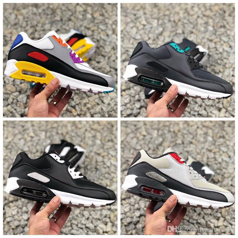 2019 Gerçek Olabilir 90 Gökkuşağı Bayan Erkek Koşu Ayakkabıları Hibrid Renkli Siyah Beyaz Classi 90 s 720 s Tasarımcı Spor Eğitmenler Sneakers Boyutu 36-46