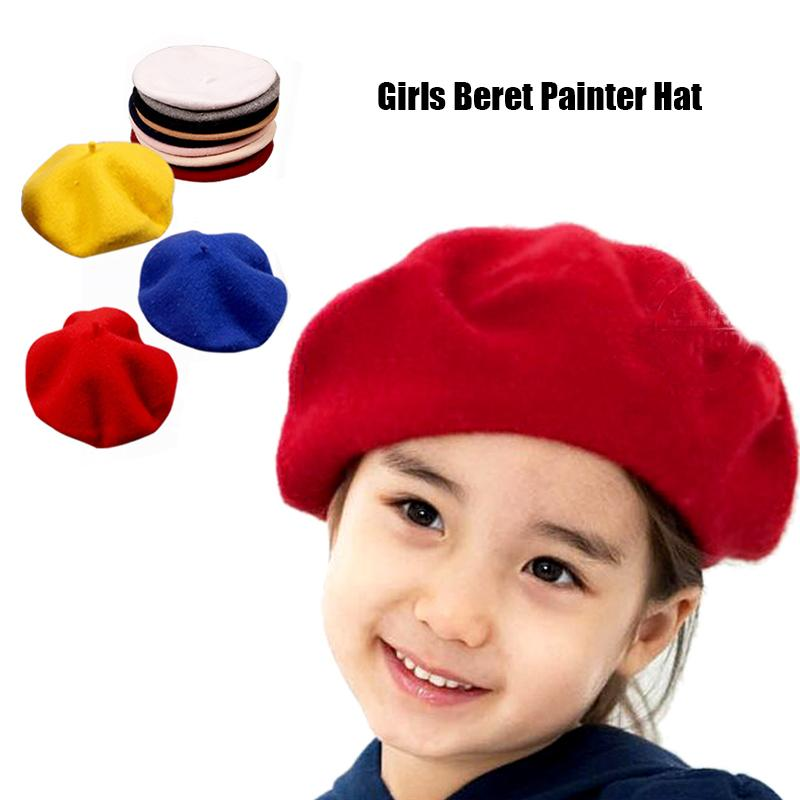 New Wool Beret Painter Hat For Baby Vintage Warm Cap For Girl And Boys Adjustable Toddler Hair Accessories Photography Bonnet