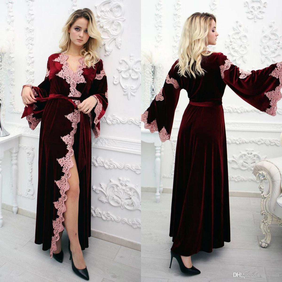 Burgundy Wedding Robes Long Sleeves Lace Appliqued Velvet Bathrobe Formal Night Gowns For Women Custom Made Cozy Sleepwear Winter Bridesmaid Dresses Alfred Sung Bridesmaid Dresses From Freesuit 59 59 Dhgate Com