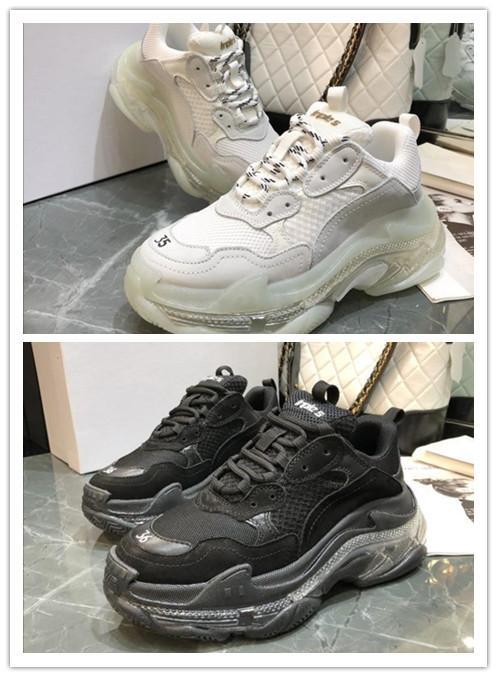 Barato mejor baloncesto zapatillas de deporte de los zapatos de la personalidad del amortiguador Triple S 3.0 papá de calzado casual combinación de nitrógeno Suela de cristal inferior