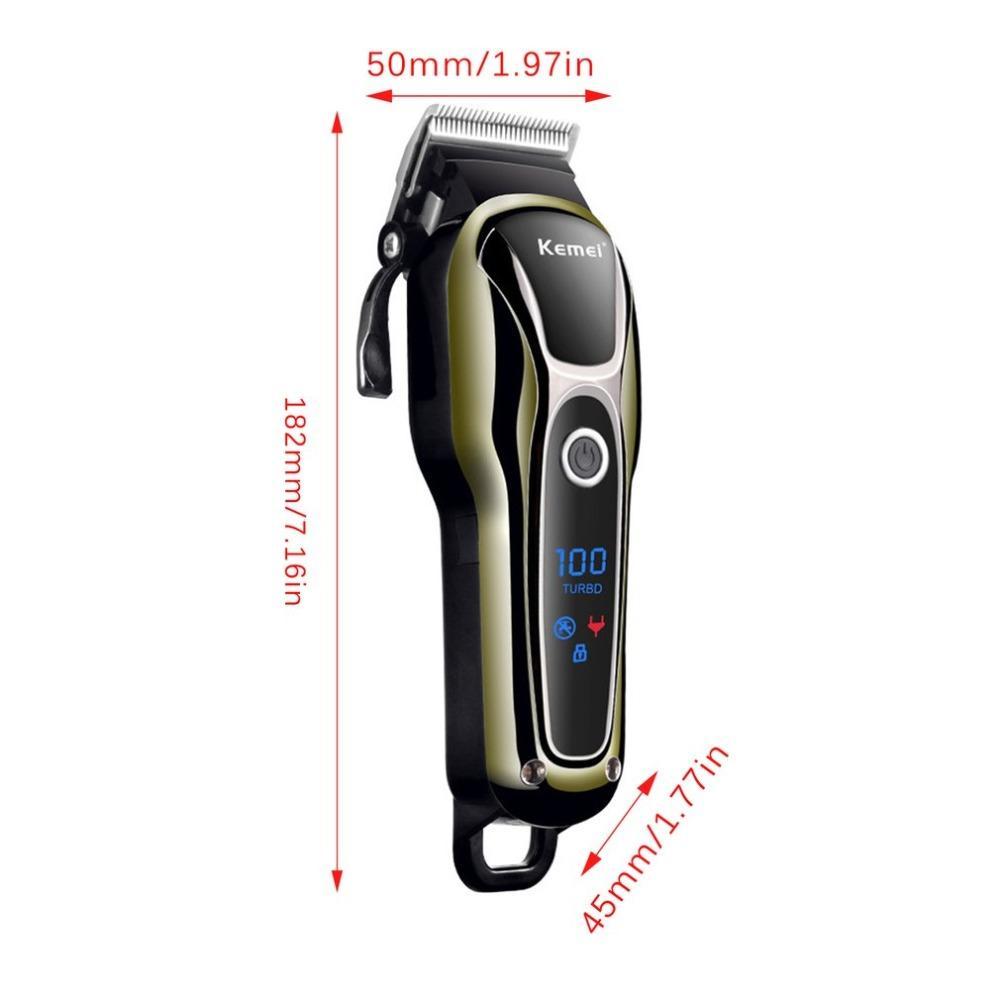 Kemei KM-1990 cortador de pelo profesional Clipper máquina de afeitar recargable eléctrica cortador de pelo exhibición de la energía Pantalla LCD Herramientas del peluquero 4 ctfjJ