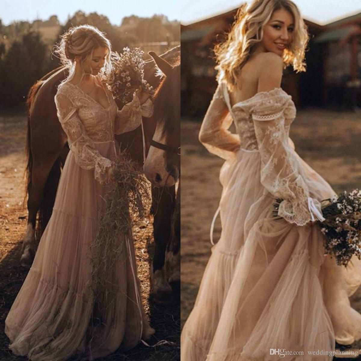 Encaje con encaje Primavera V-Cuello con cuello en V Vestidos de novia Boho Bohemio Manga larga Pequeño Árabe Talla grande Vestido de Noiva Bola de bola de novia Novia