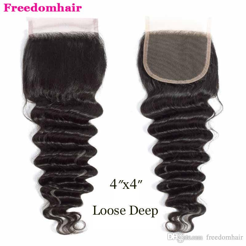 Brazilian Malaysian Indian Virgin Human Hair Weaves Closure 4x4 Lace Top Closure With Free Parts Natural Black Loose Deep Wave 8-20 Inches