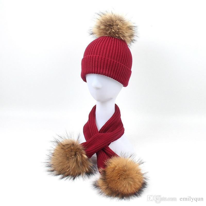 Winter Baby Girls Knit Beanies Boys Hats Raccoon Knitted Hat Scarf Set With Fur Pompom Ball Caps Children Hats Kids Warm Beanie Suits