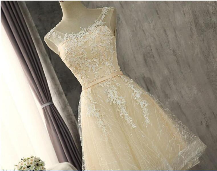 Cheap Sexy Lace Mini Party Homecoming Dress With Appliques Lace Up For Girls Juniors Graduation Party Prom Formal Gown BH06