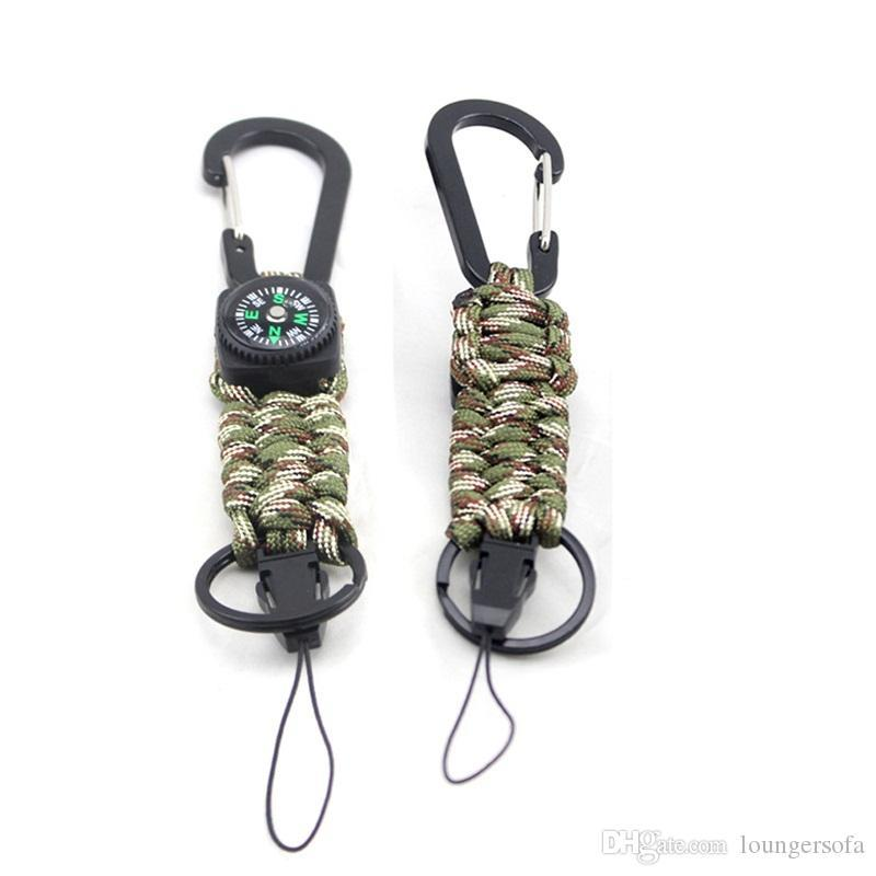 Outdoors Parachute Rope Key Rings Camo Polyester Compass Keycahins Survival Gadgets Keys Holder For Camping Equipment Multi Function