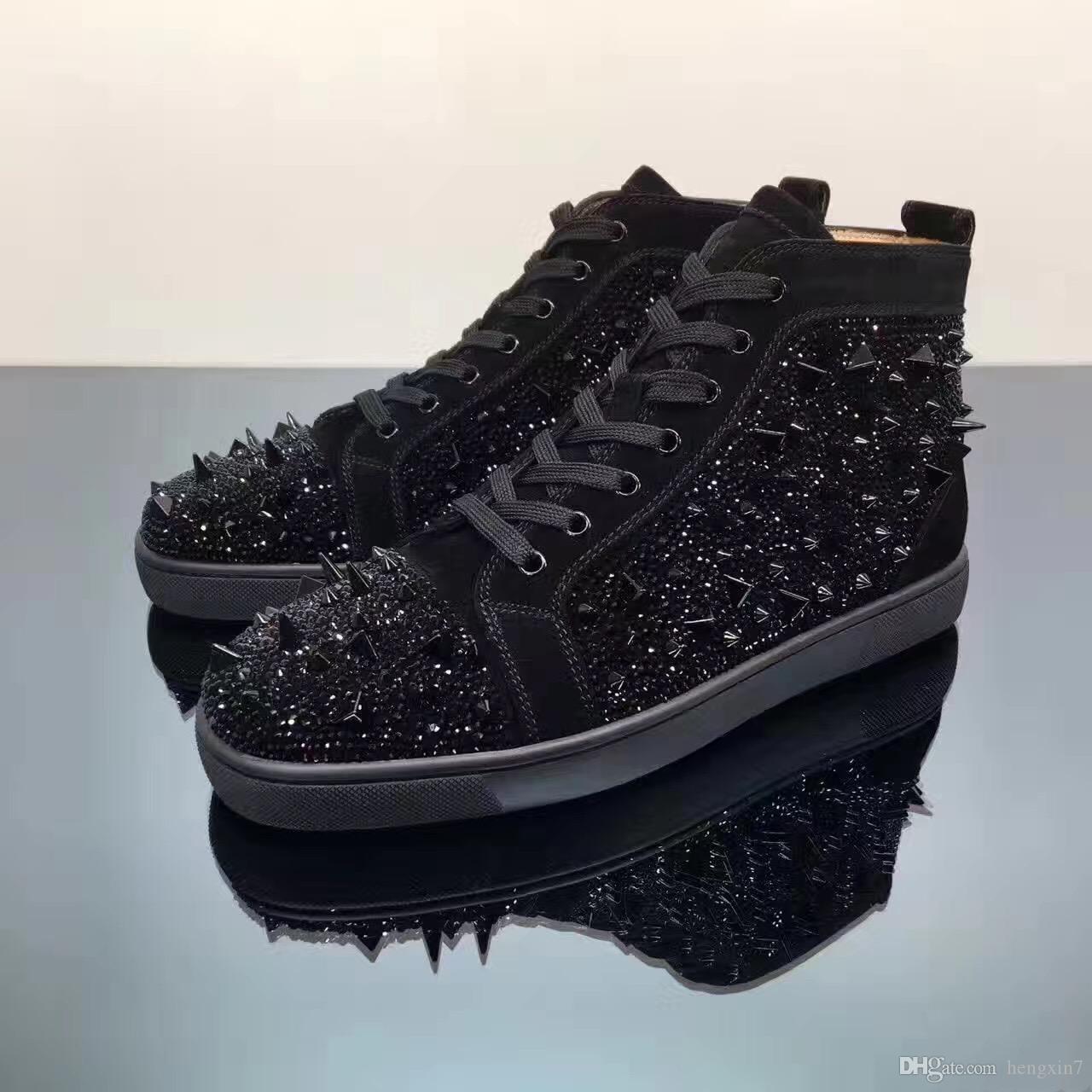 Nero Strass Pik Pik Spikes inferiore rossa di lusso Designer Mens Strass Sneaker moda Luogo abito da sposa Casual Scarpe per il tempo libero Lace-up
