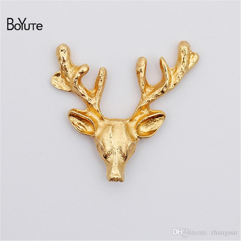BoYuTe (60 Stücke / Los) Metall-Legierung 23 * 22MM Tier Elchkopf Materialien Diy handgefertigter Schmuck Zubehör Großhandel