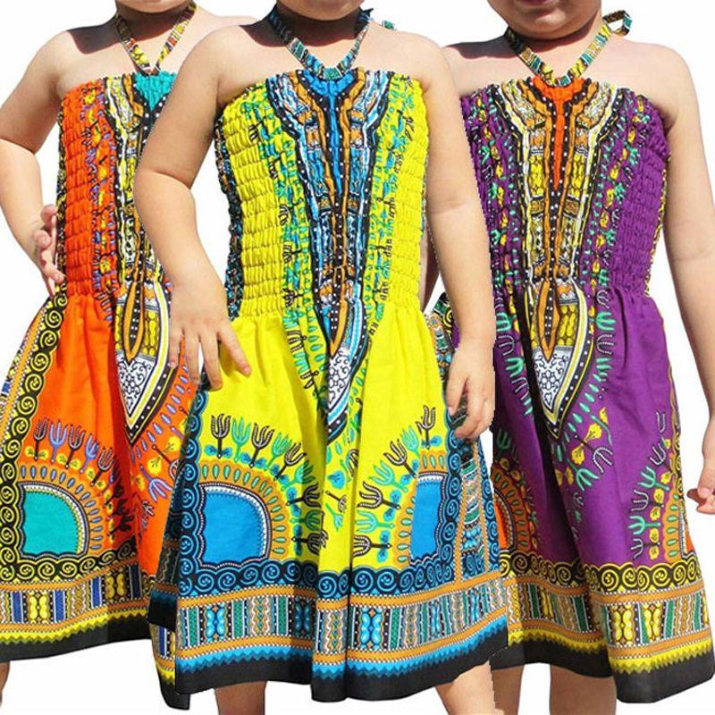 طفل بنات اللباس شاطئ أفريقيا مطبوعة مطاطا الرباط فساتين الرافعة للأطفال Lersure الملابس بنات وتتسابق عارضة طفل Lersure ملابس 06