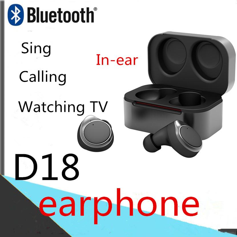 D18S Wireless Bluetooth Mini Headset TWS5.0 HD Stereo Sports Ear-hook Earphone Handsfree with Box Universal Headphone for Cell Phones I9S
