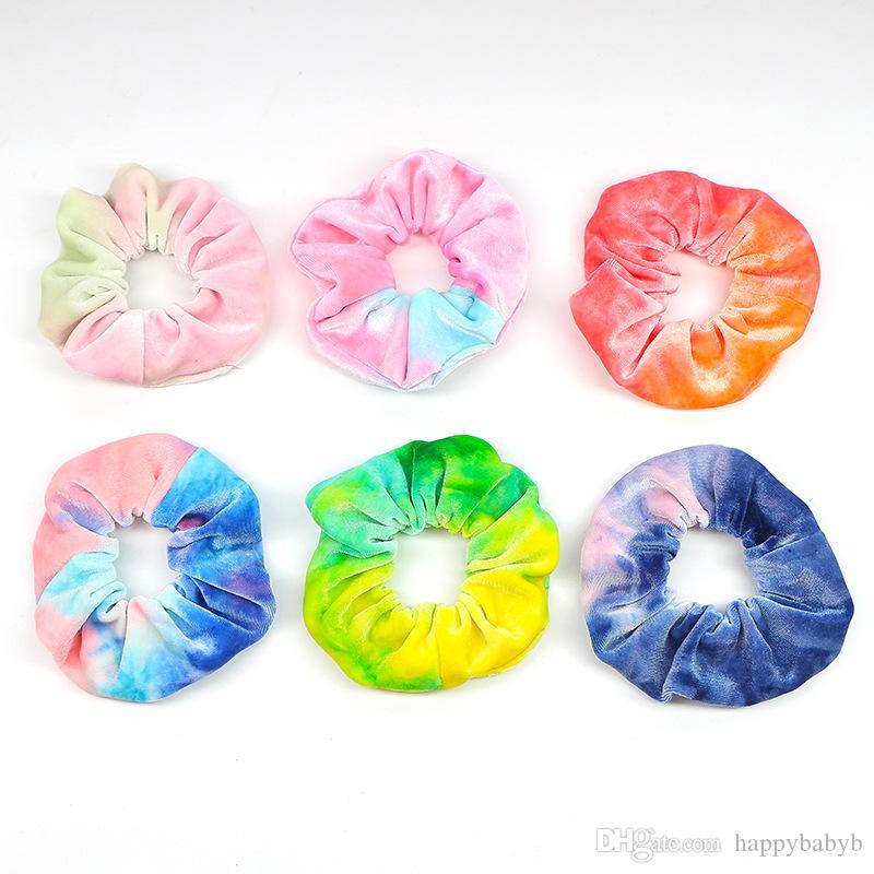 donne arcobaleno colorato velluto elastico dei capelli corda Scrunchie accessori per capelli ragazze Donne Ragazze Ponytail Hairband Headwear