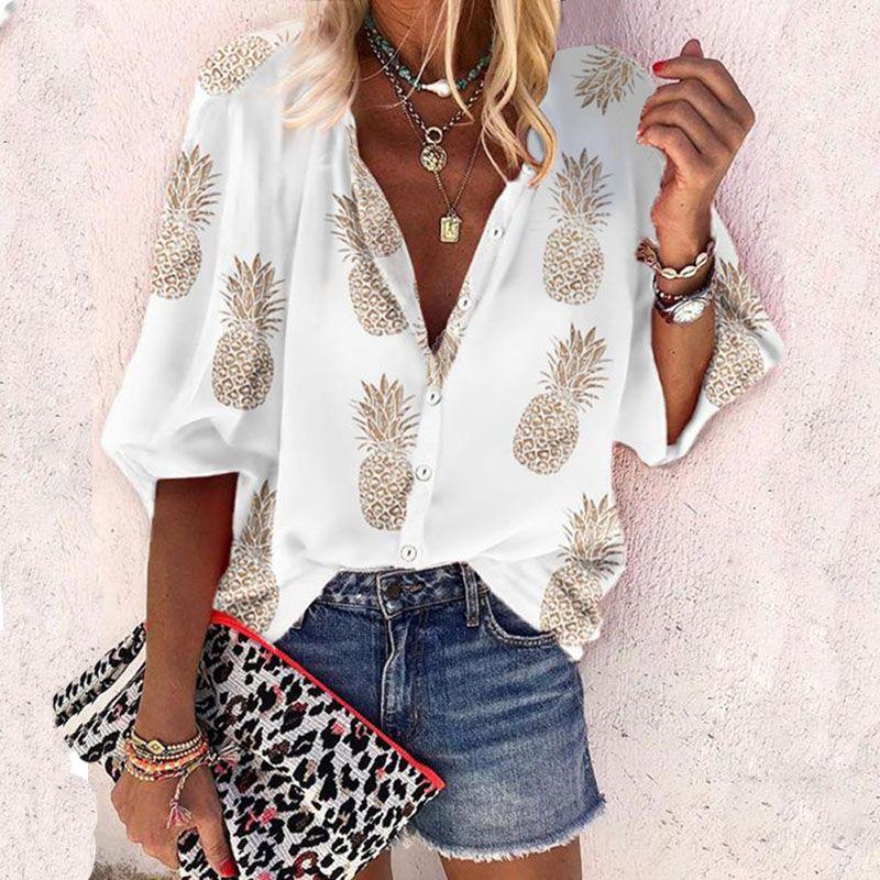 De gran tamaño de la blusa de las mujeres del otoño del resorte Tops Womens tapas de la camisa y blusas de manga larga y Piña Imprimir tamaño extra grande 5XL Blusas 2020