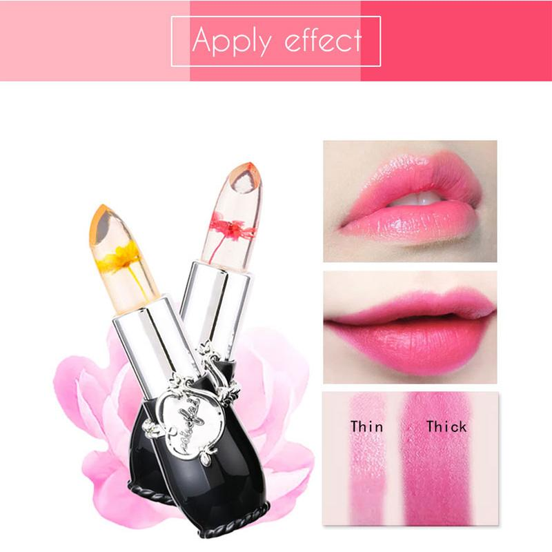 Waterproof Lip Stick Moisturizer Long-lasting Lipstick Transparent Jelly Flower Makeup Temperature Changed Color Lipstick
