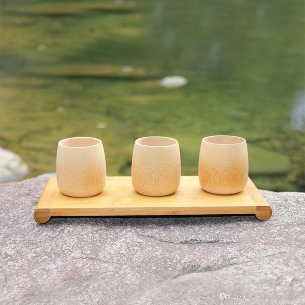 Green Natural Pure Handmade Bamboo Tea Cups Water Cup Bamboo Round Tea Cups Insulated Small Gift