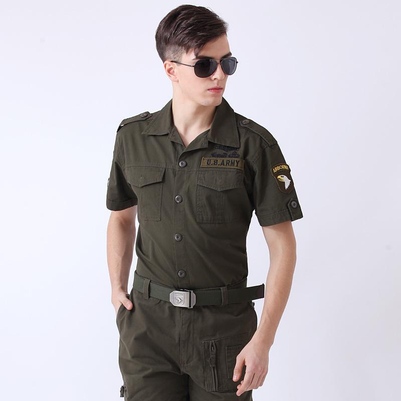 US Freedom Ritter Armee Shirts Green Cotton Blend Brave Eagle-Stickerei Sommer kurze Ärmel Einreiher Bluse