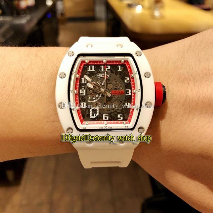 R Yüksek sürümü RM 030 Seramik Beyaz Kılıf İskelet Büyük tarihi Dial Japonya Miyota Otomatik RM030 Erkek İzle Kauçuk Kayış Spor Tasarımcı Saatler
