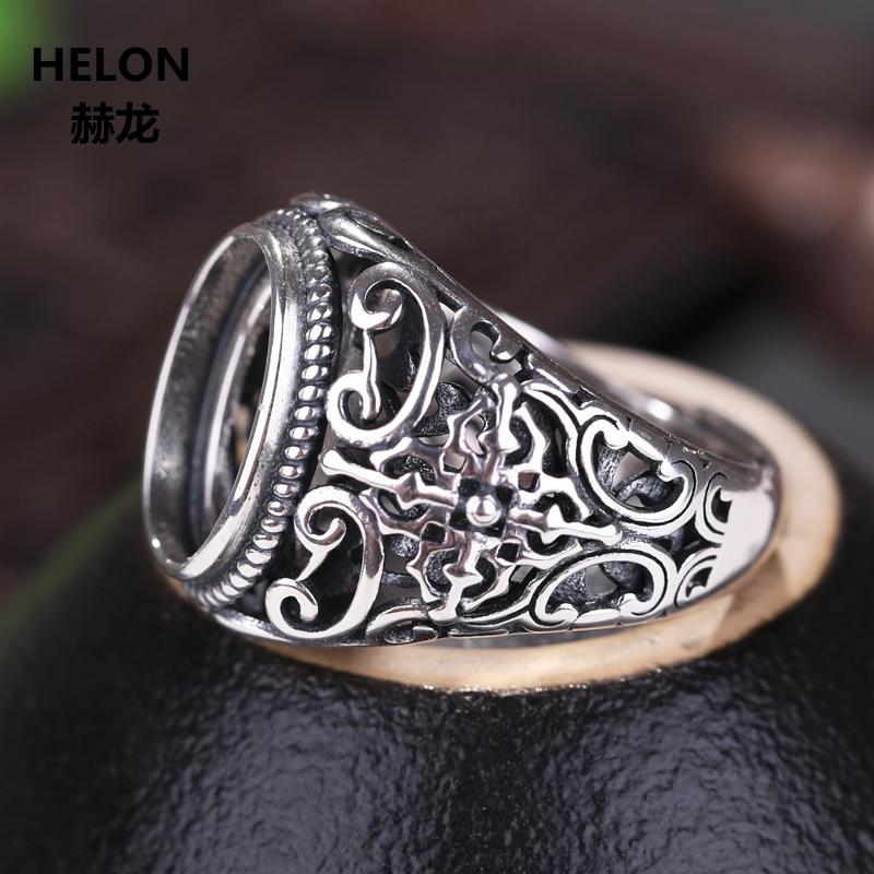 Prata esterlina 925 homens 10X14MM Vintage Wedding Ring Engagement Oval Cabochão Semi Monte Anel caber Âmbar ágata turquesa Configuração