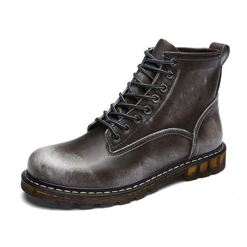 Sıcak Satış-Inek Bölünmüş Deri Çizmeler Sıcak Kürk Erkekler Kış Ayakkabı Su Geçirmez Ayakkabı Yüksek Kalite Sonbahar Ayak Bileği Yetişkin erkekler Çizmeler