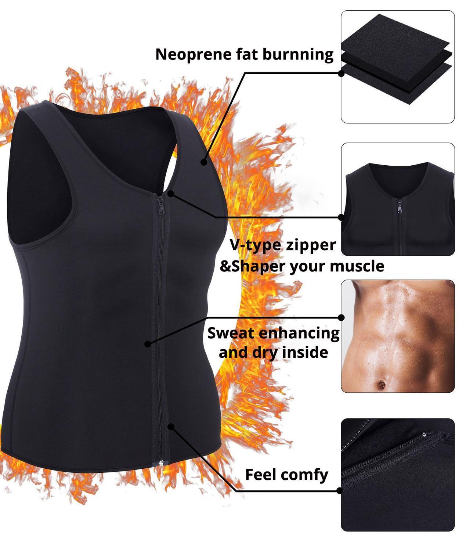 Weightloss Sıcak Neopren Korse Vücut Şekillendirici Fermuar En Sauna Tank Top Egzersiz Gömlek için Erkekler Bel Trainer Yelek