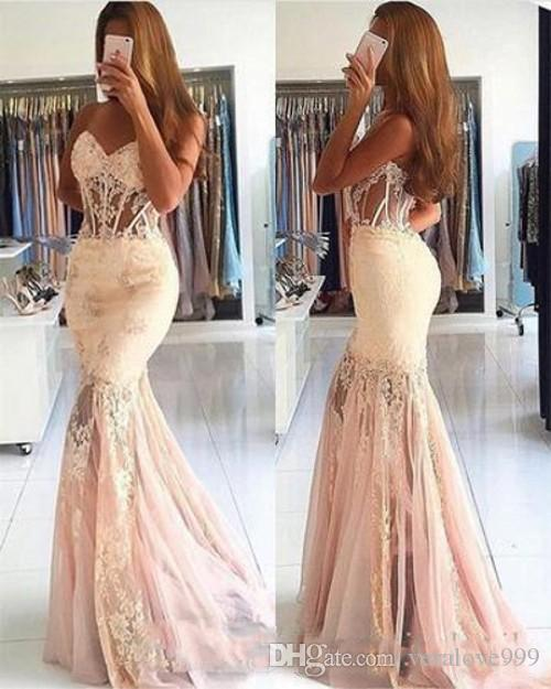 Elegant Lace Appliques Prom Dresses Mermaid 2019 Long Sweetheart See Through Corset Tulle Mermaid Evening Dresses Formal Party Gowns