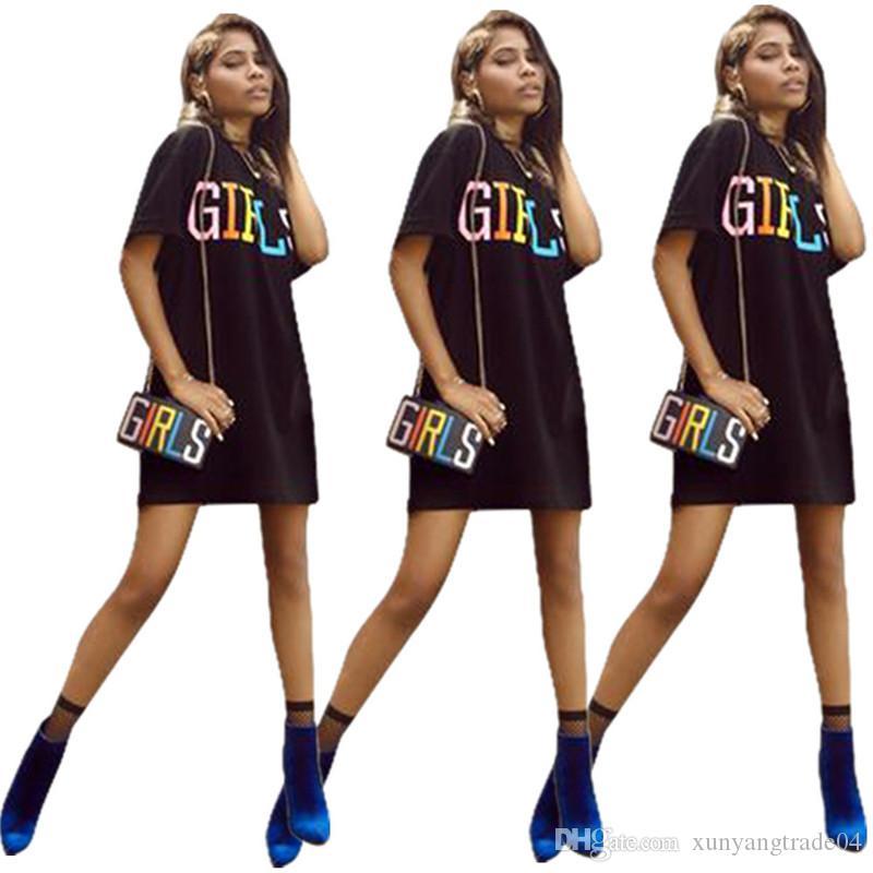 Women Dresses Summer Black Solid Color Girls Letter Print Casual Dress Short Sleeve Round Neck T Shirt Dresses Skirt S-XL 102DDN8062