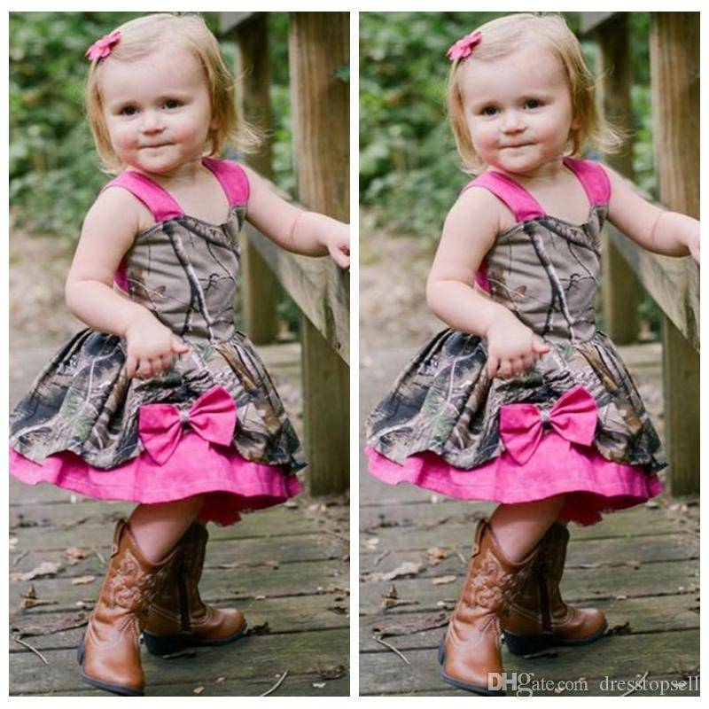 Lovely Camo Baby Girl Dresses 2019 Rose Straps Bowknot Girls Pageant Gowns  Kids Christmas Party Dresses Flower Girl Dress For Wedding Baby Girl Flower  ...