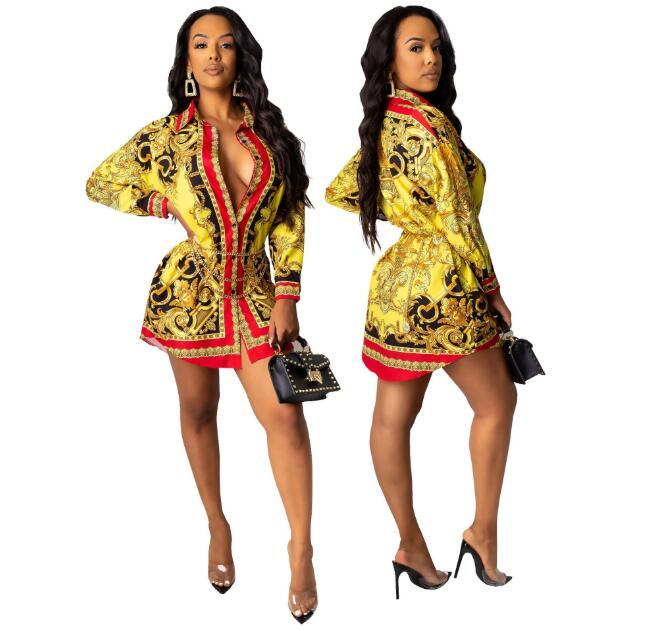 Designer chemise attache modèles loose style de vente européens et américains de la mode multicolore impression de chemise des femmes populaires